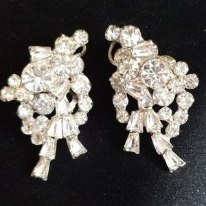 Vintage Rhinestone Clip Earrings Silvertone